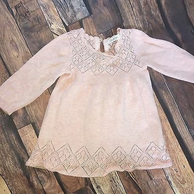 ⭐️NEXT⭐️ 6-9 Months Baby Girl Long Sleeve  Dress Outfit Pink Thin Knit