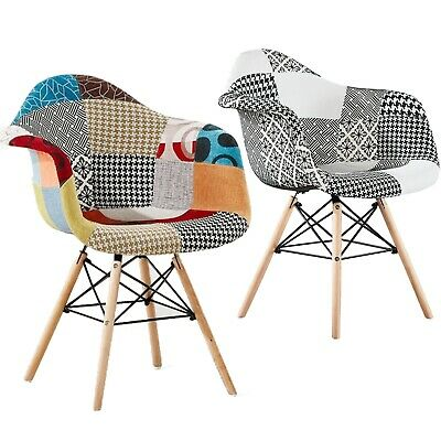 Eiffel Scandinavian Moda Patchwork Dining Tub Chair Plastic Multicolour