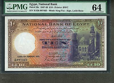 EGYPT 1950 10 POUNDS P-23c CHOICE UNC PMG 64 NOT SPECIMEN