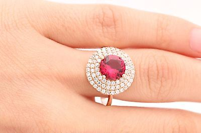 Turkish Handmade Jewelry Round Pink Ruby Topaz 925 Sterling Silver Ring Size 9