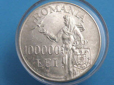 ROMANIA  - 1946 SILVER 100000 LEI COIN - MIHAI I / RELEASE OF DOVES - Good Coin