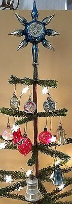 Lot Unusual Rare Antique Feather Tree Topper + 10 Feather Tree Ornaments