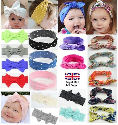 Baby Girls Bow Rabbit Turban Knot Headband Hair band Head Wrap Cute Kids Floral