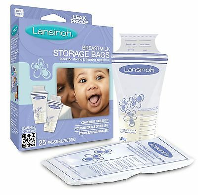 Lansinoh Breastmilk Storage Bags (Pack Of 25) Baby Infant, Leak Proof, Fast New