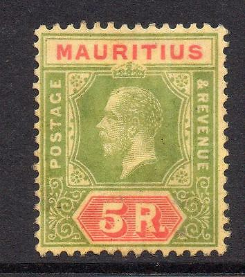 Mauritius 5 Rupee Stamp c1913-22 Mounted Mint (messy back)