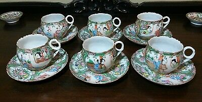 Antique Rose Medallion Chinese Porcelain Cups & Saucers