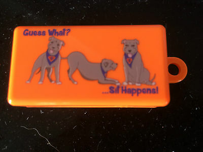 "The Original TABBED/Box Clicker with the logo ""Guess What?... Sit Happens!"""
