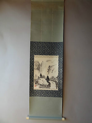 "Japanese hanging scroll Handpainted on Paper  ""Sansui zu ""   a0107"