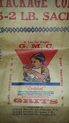 """GURLEY MILLING GRITS SACK..50 lb. Paper Sack..1940's..UNUSED..20""""x27""""..FREE SHIP"""