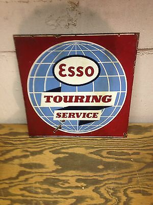 Vintage Very Rare Porcelain  Esso Globe Touring Service Gas And Oil Sign Killer