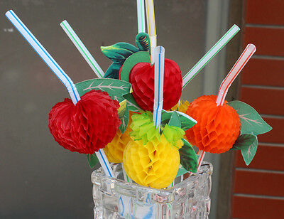 50Pcs Hawaiian Beach Party Tropical Fruit Cocktail Drinking Straws Party Decor