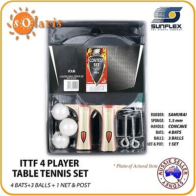 SUNFLEX Deluxe 4 Player Table Tennis Set with 4 Bats 4 Balls Screw-on Net & Post