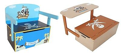 Bebe Style Childrens Pirate Wooden Convertible Toy Box Chest Storage Chair Seat