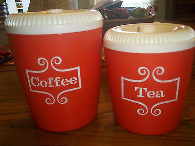 Vintage retro red coffee/tea canisters