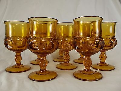 8 VINTAGE Indiana Colony AMBER Kings Crown EASTER stemmed Drinking Glass goblets