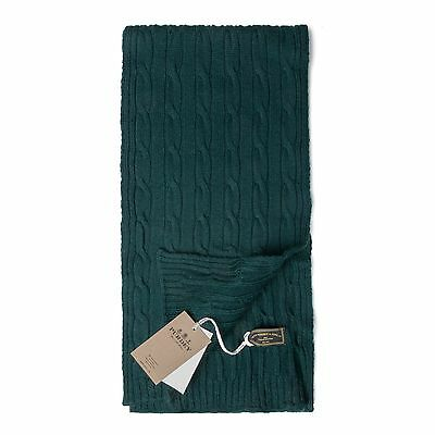 Purdey Moss Green Merino Wool Cable Knit Scarf Made In Scotland RRP £70