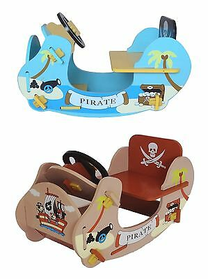 Kiddi Style Kids Pirate Wooden Rocker Ride On Boat Ship. NEW Childrens/Baby Wood