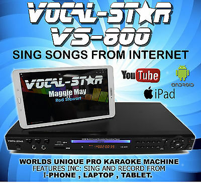 Vocal-Star Vs-800 Cdg Dvd Karaoke Machine Player 2 Microphones & 150 Songs Xdem