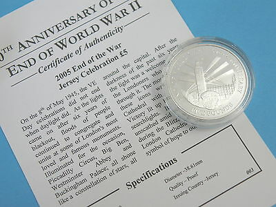 JERSEY - 2005 SILVER PROOF £5 COIN - End of WWII Anniversary - BIG BEN