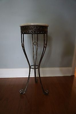 Vintage Metal Wrought Iron Base with MarbleTop Garden Plant Stand / Side Table