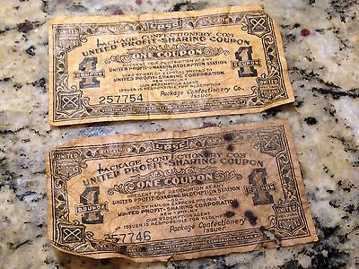 2 Antique United Profit Sharing Coupons Package Confectionery Co's UPSC 1 Coupon