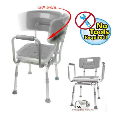 MOBB Premium Bathroom Swivel Shower Chair Bath Bench with Back 360 Degree Swi...