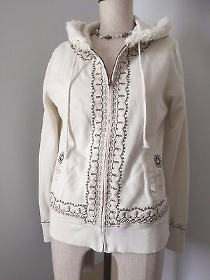 Lucky Brand  Embroidered Hoodie Jacket Women's Size Medium