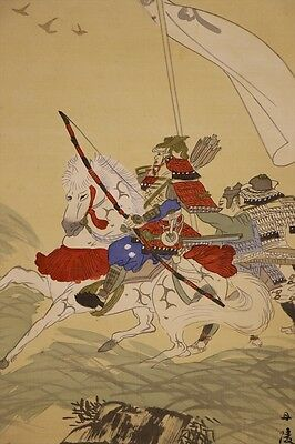 "JAPANESE HANGING SCROLL ART Painting ""Musha, Samurai Warrior""  #E5830"
