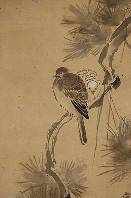 "JAPANESE HANGING SCROLL ART Painting ""Birds""  #E5836"