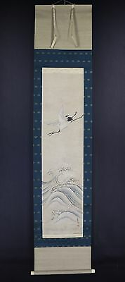 "JAPANESE HANGING SCROLL ART Painting ""Crane and Wave"" Asian antique  #E5832"