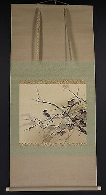 "JAPANESE HANGING SCROLL ART Painting ""Bird and Blossoms"" Asian antique  #E5827"