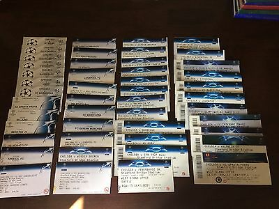 Chelsea F.C. used Champions league ticket stubs( 47 in total) 1998-2013.