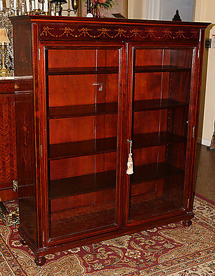 Superior RJ Horner Inlaid Solid Mahogany RESTORED Bookcase China Cabinet MINT