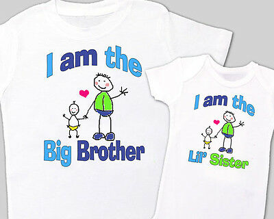 """Matching """"BIG BROTHER, Little' SISTER"""" Sibling Shirt WHITE, Tees sold separately"""
