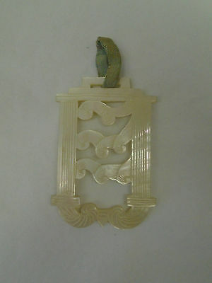 Lovely Antique / Vintage Carved Mother of Pearl Buckle - Oriental