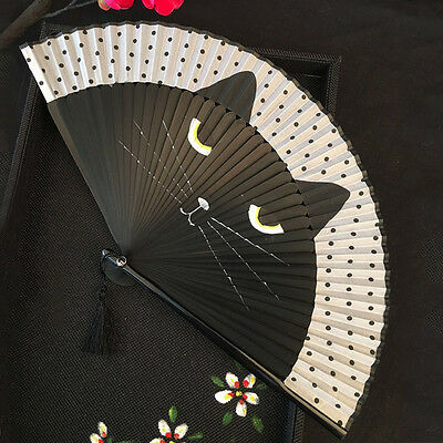Japanese Cosplay Silk Bamboo Hand Held Cartoon Cat Kitty Folding Fan Party Gift