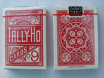 Playing Cards Tally Ho Fan Back Deck - Red - Magic Trick - New QTY:1 PACK.