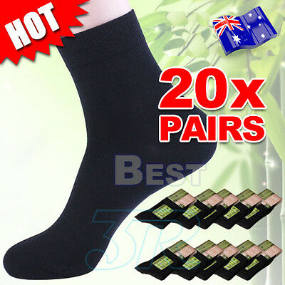 20 X Pairs Black Bamboo Fibre Men Socks Odor Resistant Sweat Comfortable Natural