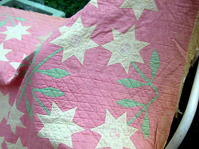 """Vintage Shabby Pink Cotton Hand Stitched Applique* Quilt with Flowers.76""""x69 TLC"""