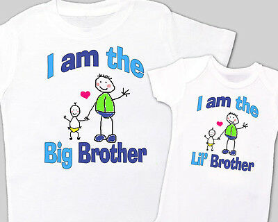 """Matching """"BIG BROTHER, Little' BROTHER"""" Sibling Shirt WHITE Tees sold separately"""