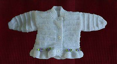 hand knitted baby girls cardigan 0/3 months white