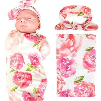 Newborn Baby Swaddle Blanket Headband Set Receiving Sleeping Bedding Pink Flower