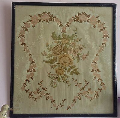 Lovely Antique Georgian(?) Silk  Floral Embroidered  Lacquer Framed Panel