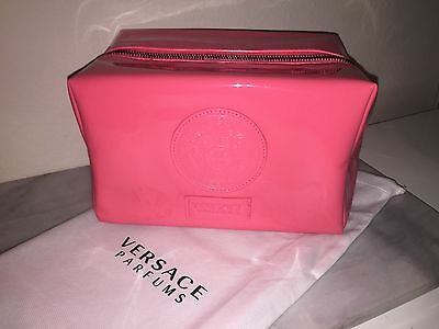 Versace Womens Pink Fashion Make-Up Pouch Cosmetic Toiletry Bag  New In Dust Bag