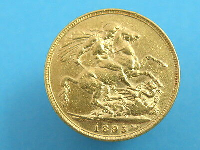 GOLD - 1895 Queen Victoria - FULL GOLD SOVEREIGN COIN - George & Dragon