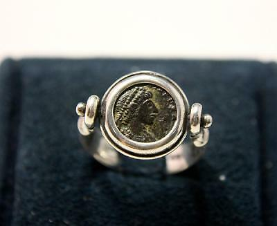 Ancient Roman Bronze coin set in Silver ring c.3rd century AD.