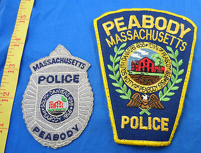 Vintage Massachusetts Two Different Peabody Police Cloth Patch Lot Of 2