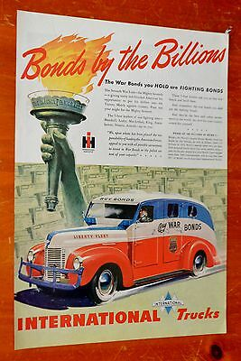 Gorgeous 1945 International Armored Truck - Buy War Bonds Ad - Vintage 1940S