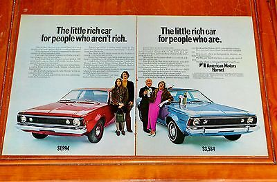 Large 1970 Amc Hornet & Sst For Rich People Ad - Vintage American 70S Retro