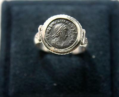 Ancient Roman Bronze coin set in Silver ring c.3rd century AD